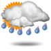 Partly sunny with showers